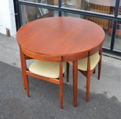 Hans Olsen Teak Hans Olsen Roundette Dining Set w 4 Three Legged Nesting Chairs - 2126640