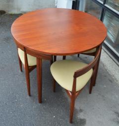 Hans Olsen Teak Hans Olsen Roundette Dining Set w 4 Three Legged Nesting Chairs - 2126650