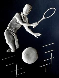 Hans Richter Fun Set of 3 Hans Richter 1961 Artcraft Plaster Negative Relief Sports Plaques - 1839598