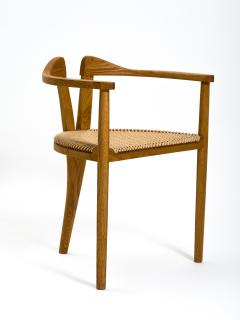Hans Wegner American Studio Craft Tri Leg Chair in Oak with Woven Seat after Hans Wegner - 1090091