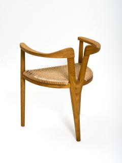 Hans Wegner American Studio Craft Tri Leg Chair in Oak with Woven Seat after Hans Wegner - 1090095