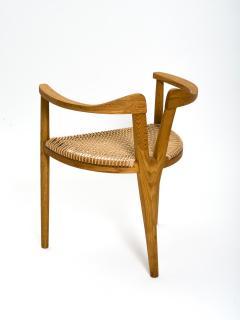 Hans Wegner American Studio Craft Tri Leg Chair in Oak with Woven Seat after Hans Wegner - 1090095