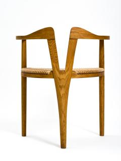 Hans Wegner American Studio Craft Tri Leg Chair in Oak with Woven Seat after Hans Wegner - 1090097