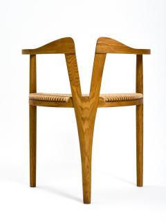 Hans Wegner American Studio Craft Tri Leg Chair in Oak with Woven Seat after Hans Wegner - 1090097