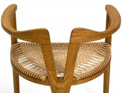 Hans Wegner American Studio Craft Tri Leg Chair in Oak with Woven Seat after Hans Wegner - 1090099