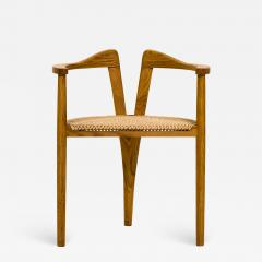 Hans Wegner American Studio Craft Tri Leg Chair in Oak with Woven Seat after Hans Wegner - 1091031