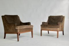 Hans Wegner Danish Leather and Rosewood Lounge Chairs - 762359
