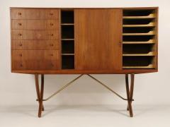 Hans Wegner Exceptional Scandinavian Modern Saber Legged Teak Oak Cabinet by Hans Wegner - 2012605