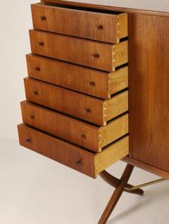 Hans Wegner Exceptional Scandinavian Modern Saber Legged Teak Oak Cabinet by Hans Wegner - 2012607