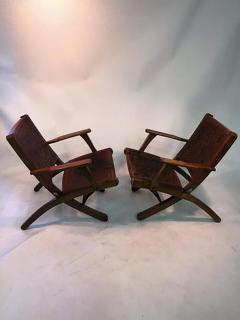 Hans Wegner Great Pair Of Hans Wegner Style Saddle Tooled Leather Folding  Chairs And Ottoman