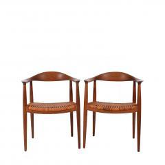 Hans Wegner Hans J Wegner Pair Oak Classics Chairs for Johannes Hansen - 1293392