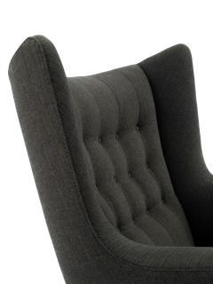 Hans Wegner Hans J Wegner Papa Bear Chair in Original Charcoal Gray Wool Upholstery - 504407