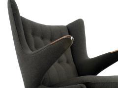 Hans Wegner Hans J Wegner Papa Bear Chair in Original Charcoal Gray Wool Upholstery - 506085