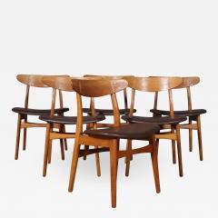 Hans Wegner Hans J Wegner Six chairs model CH 30 of oak 6  - 2100878