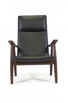 Hans Wegner Hans Wegner 260 High back Lounge Chairs in New Black Leather a Pair - 1223445