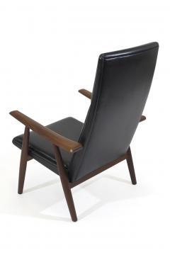 Hans Wegner Hans Wegner 260 High back Lounge Chairs in New Black Leather a Pair - 1223451