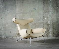 Hans Wegner Hans Wegner Ox Chair in White Mohair - 423587