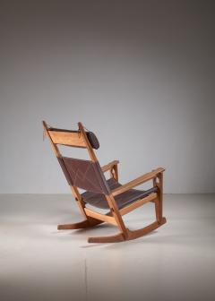 Hans Wegner Hans Wegner key hole rocking chair in original brown leather - 950030