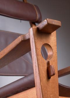 Hans Wegner Hans Wegner key hole rocking chair in original brown leather - 950034