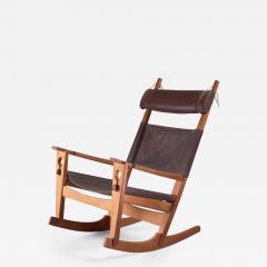 Hans Wegner Hans Wegner key hole rocking chair in original brown leather - 950708