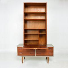 Hans Wegner Modern Twist Danish Teak Cabinet Hutch Combo in Ceruse Gray 1970s Denmark - 1637037