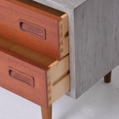 Hans Wegner Modern Twist Danish Teak Cabinet Hutch Combo in Ceruse Gray 1970s Denmark - 1637038