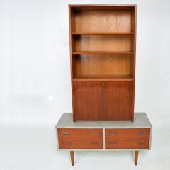 Hans Wegner Modern Twist Danish Teak Cabinet Hutch Combo in Ceruse Gray 1970s Denmark - 1637039