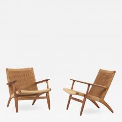 Hans Wegner Pair of Early Hans J Wegner Easy Chairs CH 25  - 1832917
