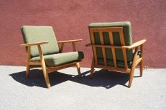 Hans Wegner Pair of Oak GE 240 Lounge Chair by Hans Wegner for GETAMA - 618710
