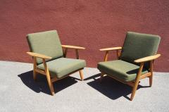 Hans Wegner Pair of Oak GE 240 Lounge Chair by Hans Wegner for GETAMA - 618711