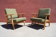Hans Wegner Pair of Oak GE 240 Lounge Chair by Hans Wegner for GETAMA - 618823