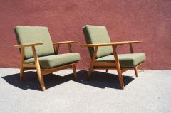 Hans Wegner Pair of Oak GE 240 Lounge Chair by Hans Wegner for GETAMA - 618824