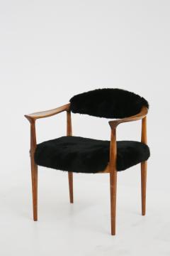 Hans Wegner Pair of black armchairs by Hans Wegner Mod JH 501 in teak 1950s - 1610028