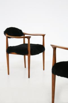 Hans Wegner Pair of black armchairs by Hans Wegner Mod JH 501 in teak 1950s - 1610034