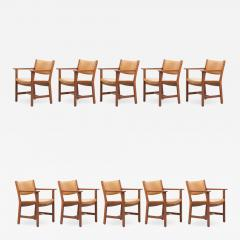 Hans Wegner Set of Ten GE 1960s Armchairs in Leather by Hans Wegner for by GETAMA Denmark - 1045107