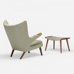 Hans Wegner Teak Papa Bear chair and ottoman by Hans J Wegner for A P Stolen - 1397662