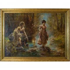 Hans Zatzka A Fine Oil Painting of Two Beauties Crossing the Stream - 1471598