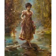 Hans Zatzka A Fine Oil Painting of Two Beauties Crossing the Stream - 1471599
