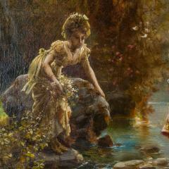 Hans Zatzka A Fine Oil Painting of Two Beauties Crossing the Stream - 1471601