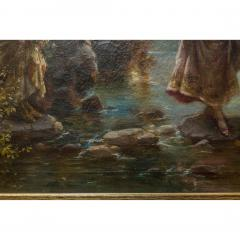Hans Zatzka A Fine Oil Painting of Two Beauties Crossing the Stream - 1471604