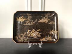 Hara Yoyusai Japanese Lacquer Tray with Maki e and Inlay Hara Yoyusai Edo Period - 1961225
