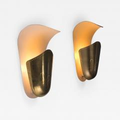 Harald Notini Harald Notini pair of brass wall lamps for Bohlmarks - 2144590