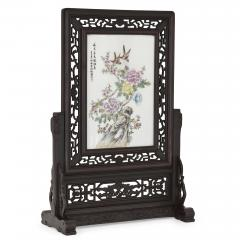 Hardwood and painted porcelain Chinese screen - 1451669