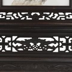 Hardwood and painted porcelain Chinese screen - 1451723