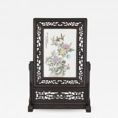 Hardwood and painted porcelain Chinese screen - 1453434