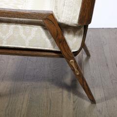 Harold M Schwartz Pair of Mid Century Modern Oak Lounge Chairs by Harold Schwartz for Romweber Co  - 2143351