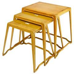 Harold M Schwartz Trio of Harold Schwartz White Oak Nesting Tray Tables for Romweber - 82400