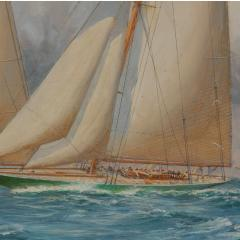 Harold Wyllie A rare painting of 1930 America s Cup racing off Newport signed Harold Wyllie  - 1638016