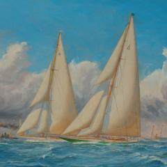 Harold Wyllie A rare painting of 1930 America s Cup racing off Newport signed Harold Wyllie  - 1638017