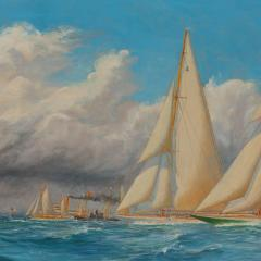 Harold Wyllie A rare painting of 1930 America s Cup racing off Newport signed Harold Wyllie  - 1638018